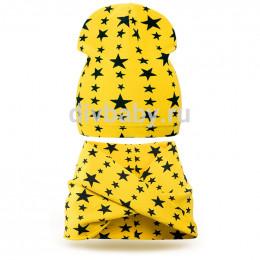 Комплект шапка и шарф хомут трикотаж звезда желтый тонкая
