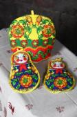 """Набор для кухни """"Русские матрешки"""" (Грелка на чайник+2 прихв"""