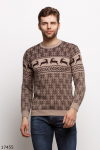 Мужской свитер 17455 кофейный принт