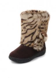 """Унты для девочки. Мех - """"леопард"""". Размер: 27"""