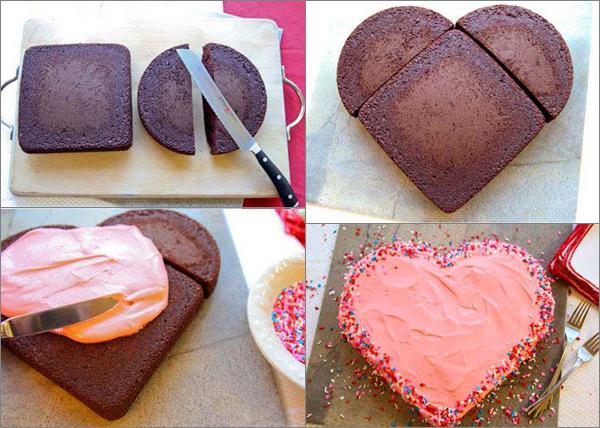 Как сделать торт в виде сердец 884