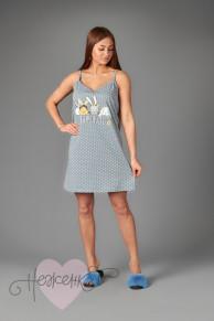 Женская сорочка ЖС 025 (горох на сером)