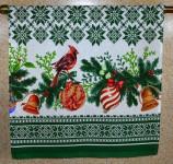 """Полотенце кухонное 45*70 см """"Кардиналы""""-зелен.рогожка хлопок"""