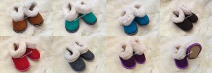 Чуни детские из 100% овчины на мягкой подошве, цвета разные