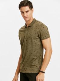 Baskılı Polo Yaka Pamuklu Tişört