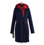 01-5032 Пальто женское демисезонное (пояс) Кашемир Синий-кра