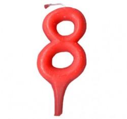 Свеча цифра 8 красный