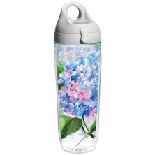 Tervis Hydrangeas Wrap Water Bottle with Grey Lid, 24-Ounce
