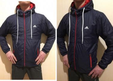 Куртка весенняя AS на синтепоне т.синяя с красным