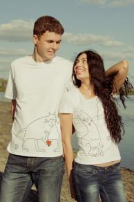 Парные футболки белые с рисунком «Коты»