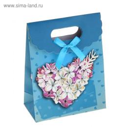 """Пакет с клапаном """"Сердце из цветов"""", цвет голубой"""