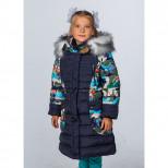 Пальто для девочки зимнее 6716 Пралеска синее (Беларусь)