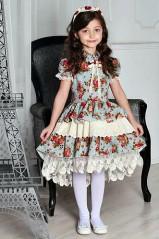 """Платье для девочки """"Букет на бирюзовом"""" (рост 134 см)"""