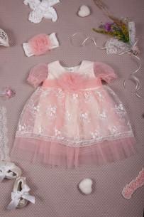 """Нарядное платье для девочки """"Елизавета"""" (персиковый)"""