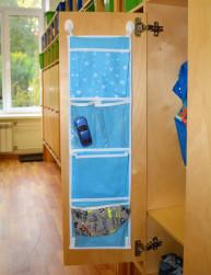 Кармашки для шкафчика, 5 отделений, голубой, 72*20 см