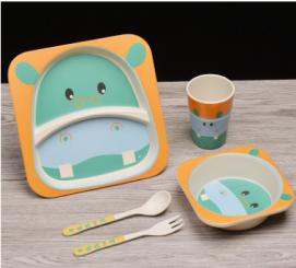 Набор детской посуды 5 предметов Гиппопотам