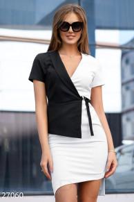 Комбинированное деловое платье