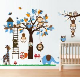 """Интерьерная наклейка """"Зоопарк на дереве"""""""