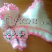 Комплект  шапка и пинетки из кроличьего пуха