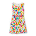 Girls Sleeveless Paint Print Belted Flare Dress