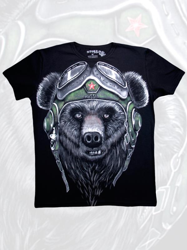 Футболка мужская Медведь в шлеме