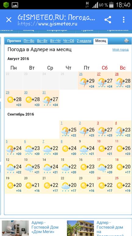 погода в адлере на август 2016