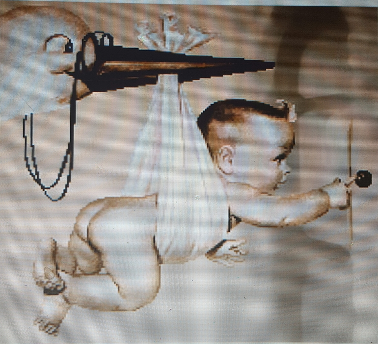 Вышивка ребенка с аистом крестом схемы