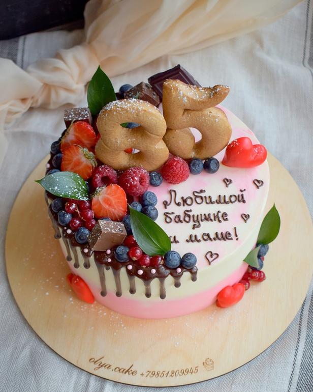 Картинки торта с днем рождения бабушке, цветочные