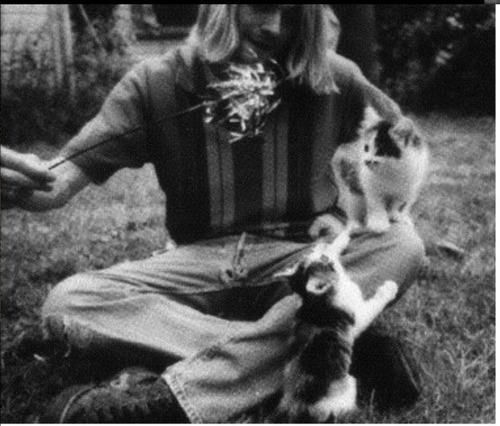 курт кобейн с котёнком фото
