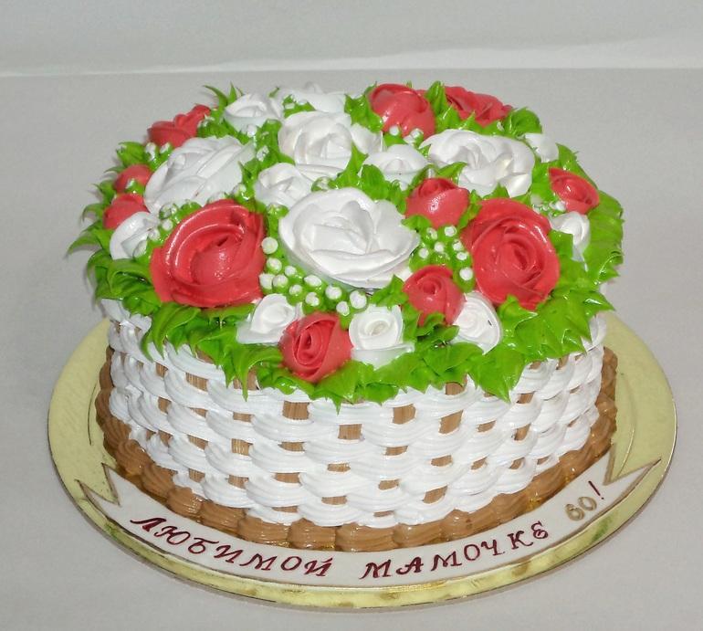 торт корзинка роз кремовый фото день святого валентина