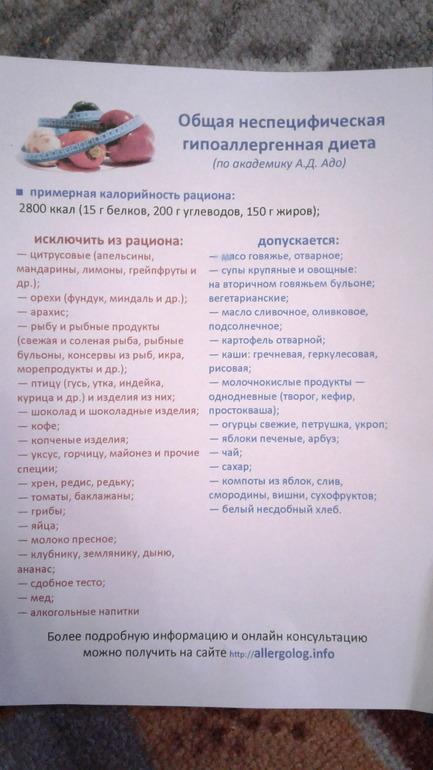 Неспецифическая Гипоаллергенная Диета Меню На.