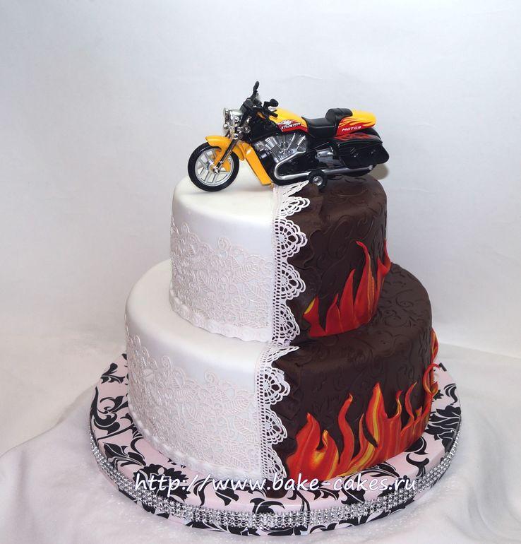 Как оформить торт мотоцикл картинки