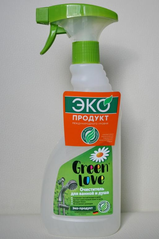 Спрей очиститель для ванной и душа Green Love - экологичное и эффективное средство.